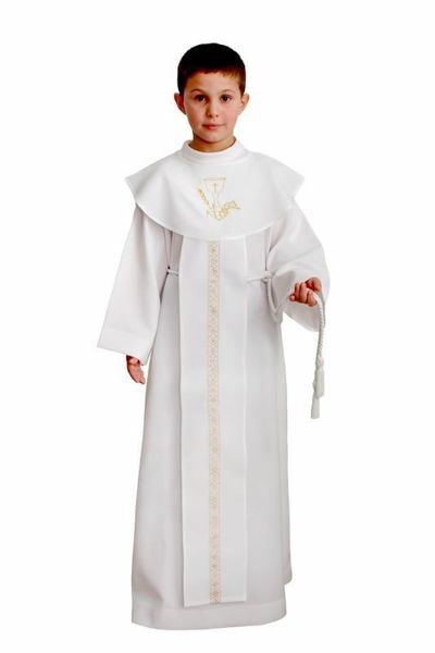 Picture of First Communion Alb boys girls Scapular golden lace Polyester Liturgical Tunic