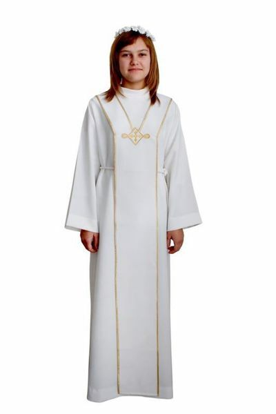 Picture of First Communion Alb boys girls golden trim Scapular embroidery Polyester Tunic