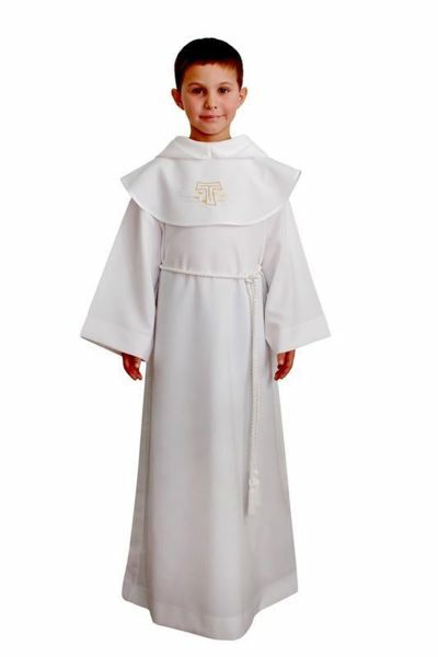 Picture of First Communion Alb boys girls Tau embroidered cloak Hood pure Polyester Tunic