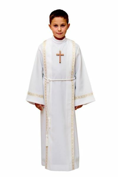 Picture of First Communion Alb boys girls with folds golden Trim pure Polyester Tunic