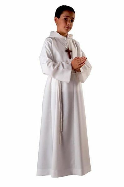 Picture of First Communion Alb boys girls with hood Wool blend Liturgical Tunic