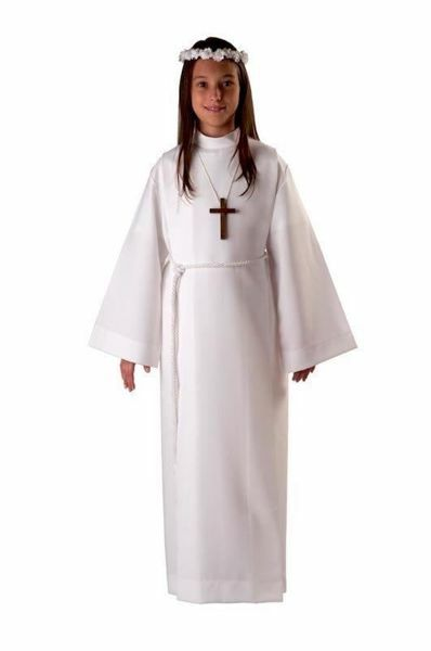 Picture of First Communion Alb boys girls with folds turned Collar Wool blend Liturgical Tunic