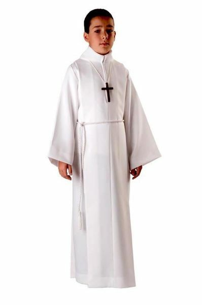 Picture of First Communion Alb boys girls with folds false hood Wool blend Liturgical Tunic