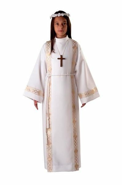 Picture of First Communion Alb boys girls with folds Trim Wool blend Liturgical Tunic