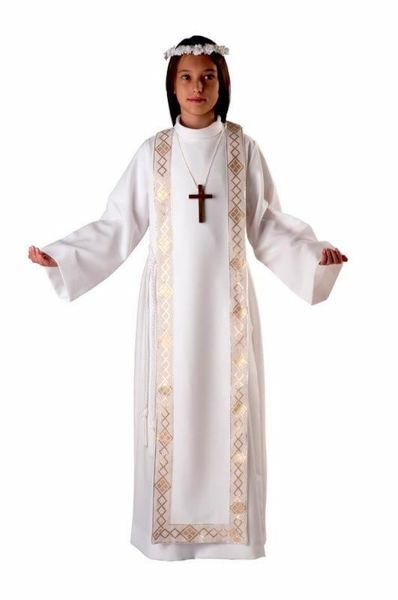 Picture of First Communion Alb boys girls turned Collar golden Trim Scapular Wool Tunic
