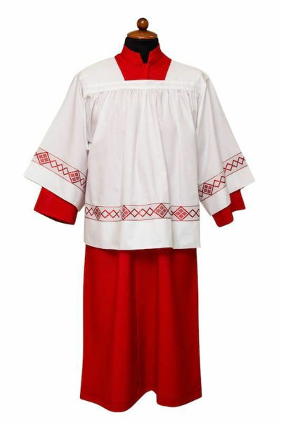 Picture of Cassock and Surplice for Altar Boy and Altar Girl  red black Polyester Tunic Alb