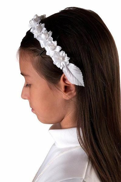 Picture of White Floral Rim Hair Circlet for First Communion dress