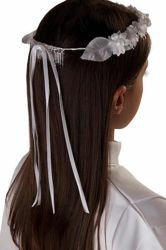 Picture of Floral White Crown Wreath Veil for First Communion dress