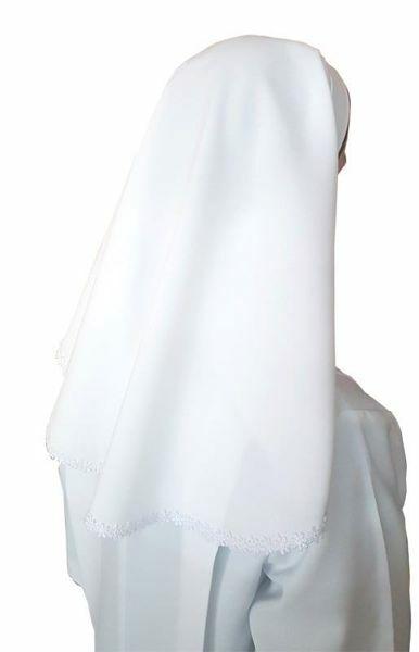 Immagine di Velo bianco con Bordino in Macramè per Abito Prima Comunione