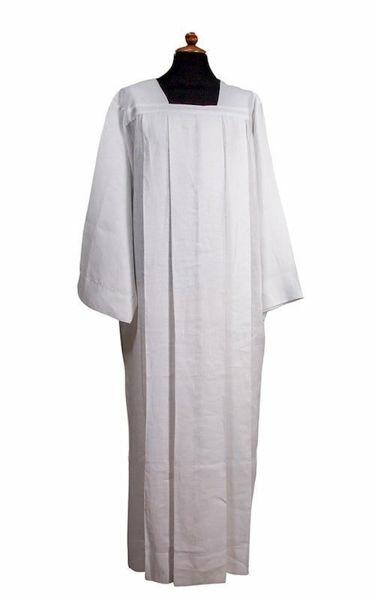 Imagen de Alba Sacerdotal blanca 4 pliegues y cuello cuadrado Lino puro Túnica litúrgica