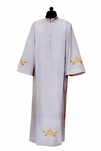 Imagen de Alba Sacerdotal pliegues y bordado Cáliz Uvas Espigas mezcla Algodón Túnica litúrgica