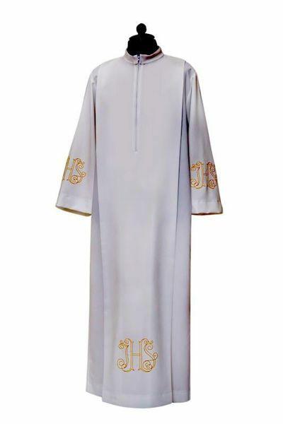 Imagen de Alba Sacerdotal pliegues y bordado IHS mezcla Algodón Túnica litúrgica