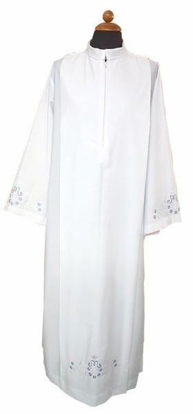 Picture of Marian Priestly Alb with folds and embroidery Cotton blend Liturgical Tunic