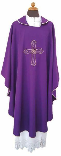 Immagine di Casula liturgica ricamo Croce Fiore Poliestere Avorio Viola Rosso Verde