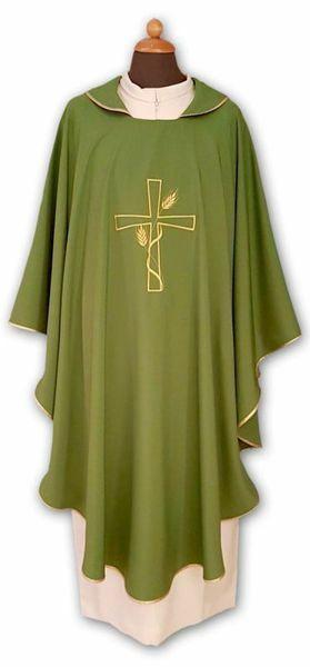Immagine di Casula liturgica Mariana Croce Spighe Poliestere Avorio Viola Rosso Verde