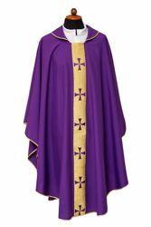 Imagen de Casulla litúrgica borde Cruces delante Poliéster Marfil Morado Rojo Verde