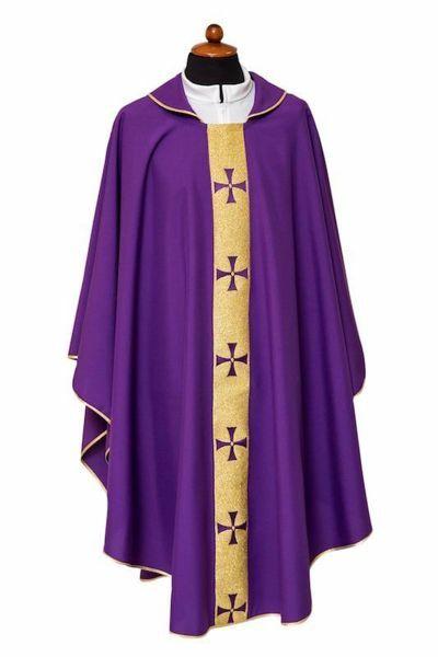 Immagine di Casula liturgica bordo a Croci Poliestere Avorio Viola Rosso Verde