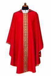 Immagine di Casula liturgica Gallone Poliestere Avorio Viola Rosso Verde