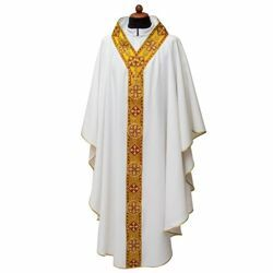 Picture of Liturgical Chasuble open neck and Trim Polyester Ivory Violet Red Green
