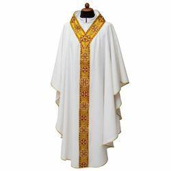 Imagen de Casulla litúrgica cuello abierto borde Poliéster Marfil Morado Rojo Verde