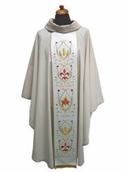 Picture of Liturgical Chasuble embroidered Stole Lurex Wool blend Ivory Violet Red Green
