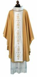 Picture of Liturgical Chasuble embroidered Stole coloured stones Papale Wool blend Gold