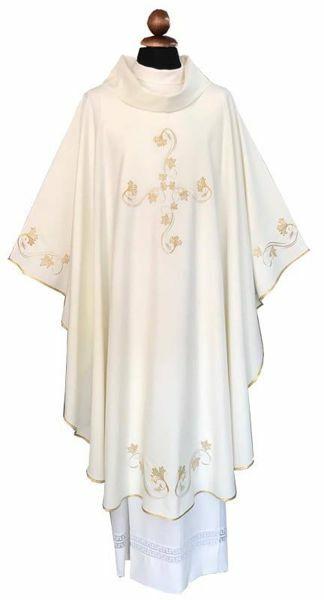 Imagen de Casulla litúrgica bordado lateral Cruz mezcla Lana Marfil Morado Rojo Verde