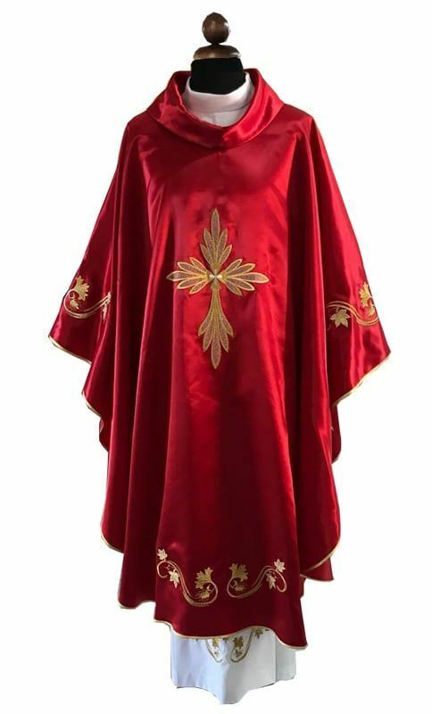 Liturgical Chasuble Satin Embroidery Polyester Ivory