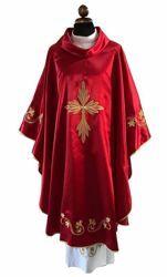 Immagine di Casula liturgica raso ricamata Poliestere Avorio Viola Rosso Verde