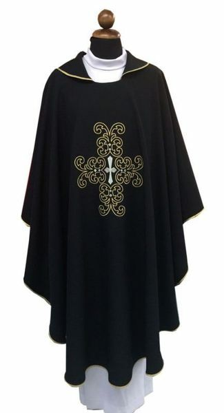 Picture of Liturgical Chasuble embroidered Cross Polyester Light Blue Pink Black
