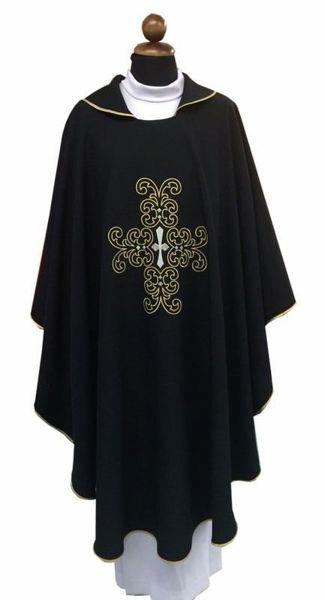 Immagine di Casula liturgica Croce ricamata Poliestere Azzurro Rosa Nero
