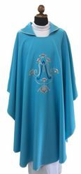 Picture of Marian Liturgical Chasuble Polyester Light Blue Ivory