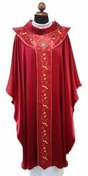 Picture of Liturgical Chasuble embroidery and coloured stones Pure Wool Ivory Violet Red Green