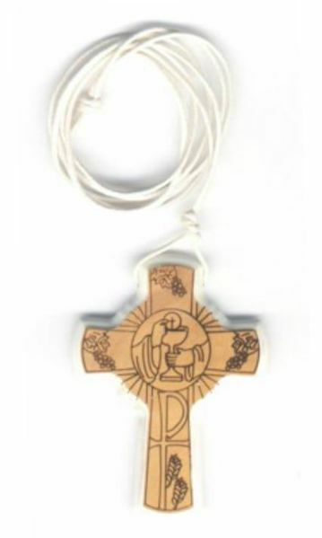 Picture of Olive Wood pectoral Cross Pax Chalice Host white profile cm 5x3,5 (2,0x1,4 in) First Communion pendant