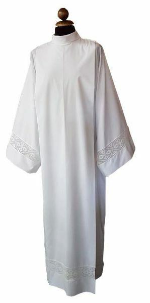 Immagine di Camice Sacerdotale bianco con merletto Croci in misto Cotone Tunica liturgica