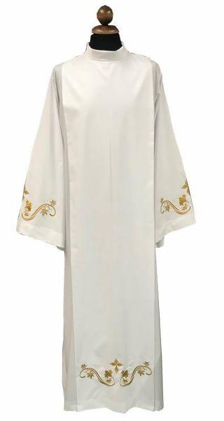 Immagine di Camice Sacerdotale bianco con ricamo in misto Cotone Tunica liturgica