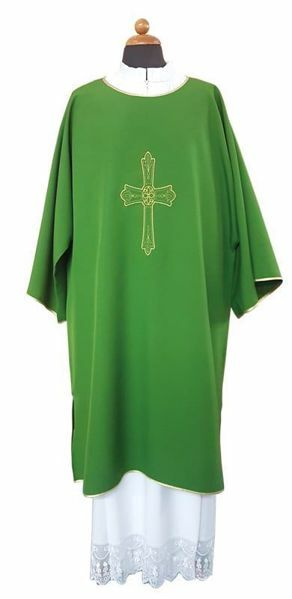 Picture of Deacon Liturgical Dalmatic front and back Cross Flower pure Polyester