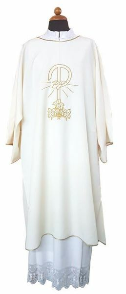 Picture of Deacon Liturgical Dalmatic front and back Pax Lilies pure Polyester