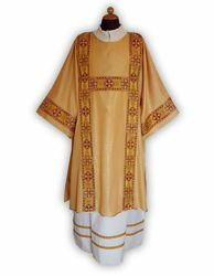 Picture of Deacon Liturgical Dalmatic front and back Galloons Gold Wool blend