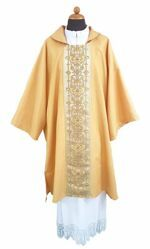 Picture of Deacon Liturgical Dalmatic front and back Stole Gold Wool blend