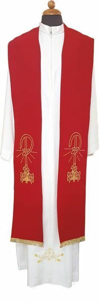 Picture of Priest Liturgical Stole golden Pax Lilies Polyester Ivory Violet Red Green