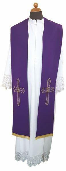 Immagine di Stola Sacerdotale liturgica ricamo Croce Fiore Poliestere Avorio Viola Rosso Verde