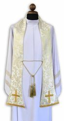 Picture of Priest Marian Liturgical Stole Daisies embroidery Polyester White Ivory