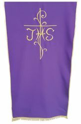 Picture of Church Lectern Cover embroidered Cross JHS cm 250x50 (98,4x19,7 inch) Polyester Ivory white Violet Red Green