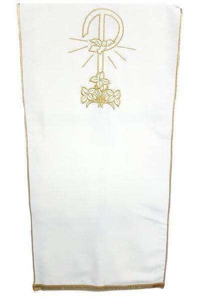 Imagen de Paño Cubre Atril Iglesia Pax Lirios Poliéster cm 250x50 (98,4x19,7 inch) Blanco marfil Morado Rojo Verde