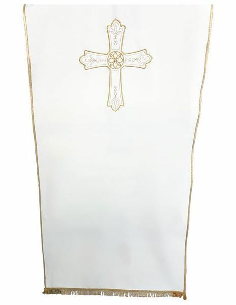 Imagen de Paño Cubre Atril Iglesia Cruz Flor cm 250x50 (98,4x19,7 inch) Poliéster Blanco marfil Morado Rojo Verde