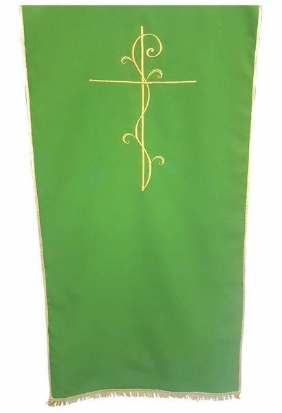 Imagen de Paño Cubre Atril Iglesia Cruz cm 250x50 (98,4x19,7 inch) Poliéster Blanco marfil Morado Rojo Verde