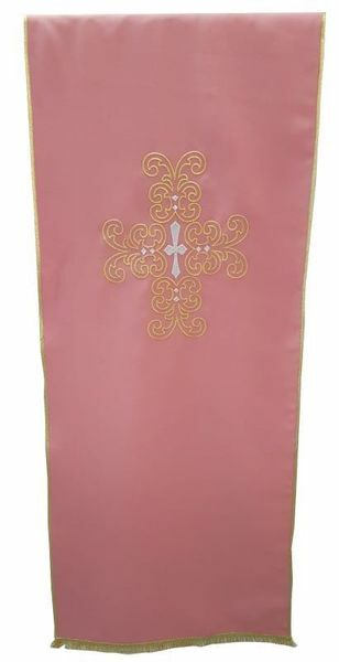 Picture of Church Lectern Cover gold silver Cross cm 250x50 (98,4x19,7 inch) Polyester Ivory white Violet Red Green