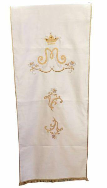 Immagine di Copri leggio Mariano da Chiesa cm 250x50 (98,4x19,7 inch) in Raso (Satin) Bianco avorio