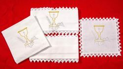 Picture of Sacramental Altar Linens Set Chalice Pure Cotton White Mass Cloths